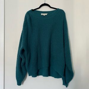 H&M Knit Turquoise Balloon Sleeve Sweater